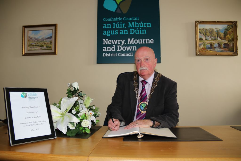Chairman Opens Books of Condolence in Memory of Prominent Newry Business Man, Brian Conlon