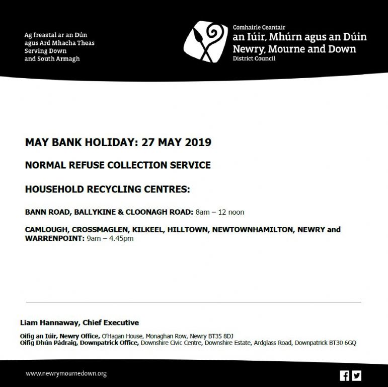 Waste Management Arrangements for May Public Holiday