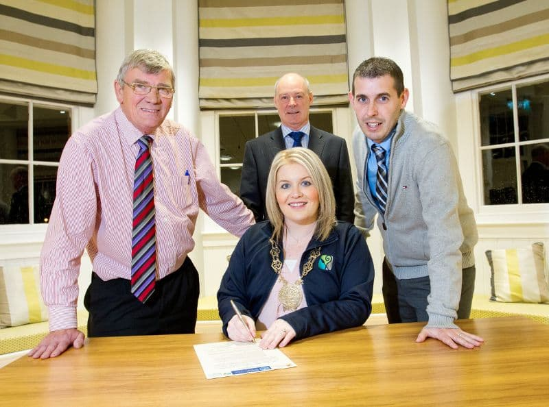 Signing of Sister Cities Agreement By Chairperson Councillor Naomi Bailie between Newry, Mourne and Down District Council, Southern Pines, Pinehurst and Aberdeen
