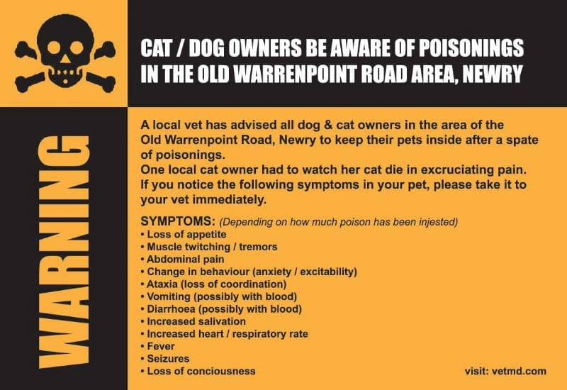 Cat/Dog owners be aware of poisonings in the Old Warrenpoint Road area, Newry