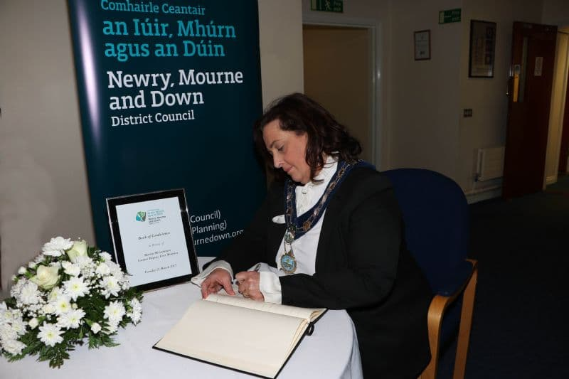 Chairperson Opens Books Of Condolence For Martin McGuinness