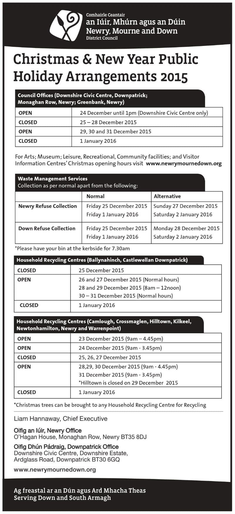 Christmas & New Year Public Holiday Arrangments