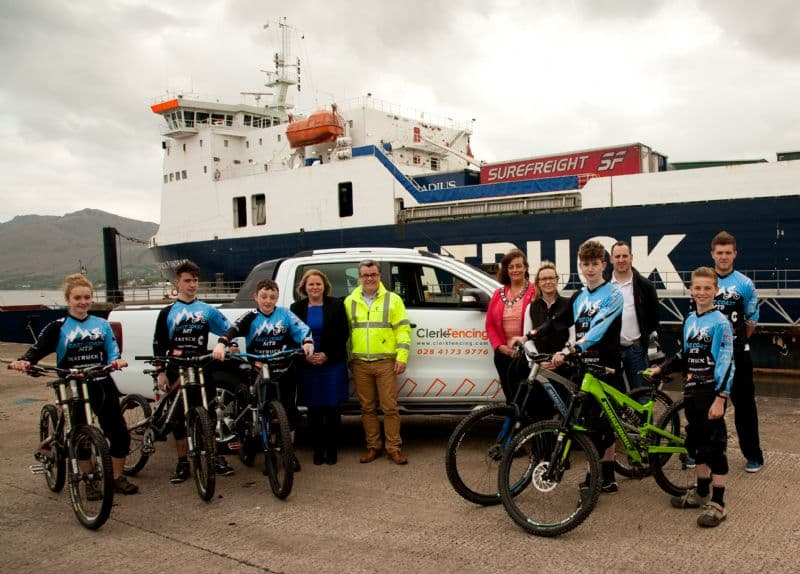 Seatruck Ferries, Clerk Fencing and Newry Mourne and Down District  Council row in behind local Downhill Mountain Bike Youth Development Team, East Coast MTB