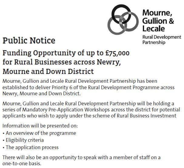 Funding Opportunity of up to £75,000 for Rural Businesses across Newry, Mourne and Down District