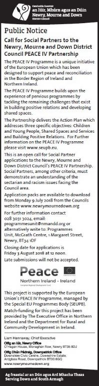 Call for Social Partners to the Newry, Mourne and Down District Council PEACE IV Partnership