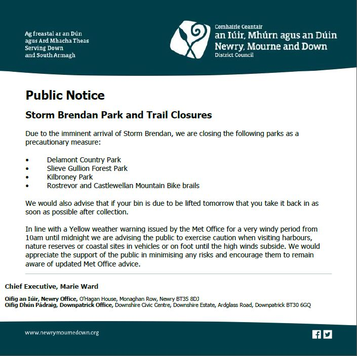 Storm Brendan Park and Trail Closures