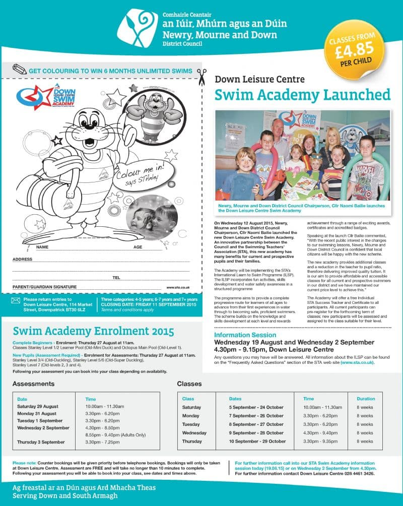Down Leisure Centre Swim Academy Launched