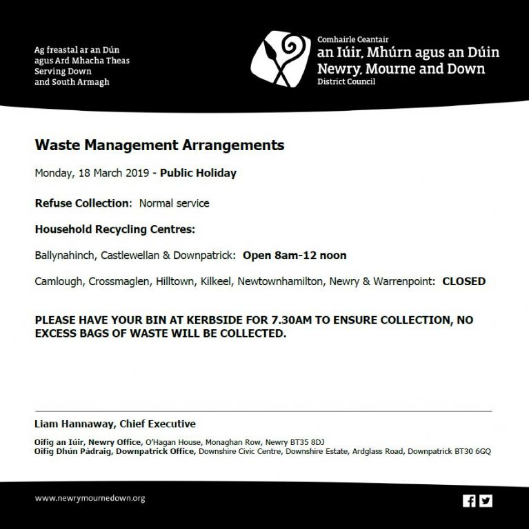 Waste Management Arrangements for St Patrick's Day Public Holiday 18.03.19